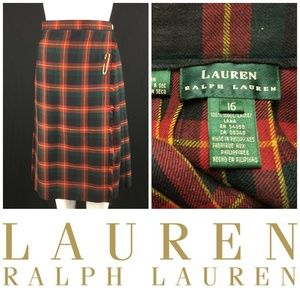 Vtg Ralph Lauren Wool Blanket Skirt Sz 16 Plaid